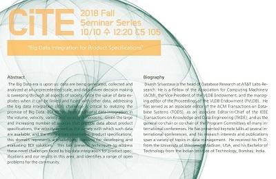 CiTE Seminar: Dr.Divesh Srivastava(AT&T Labs-Research)